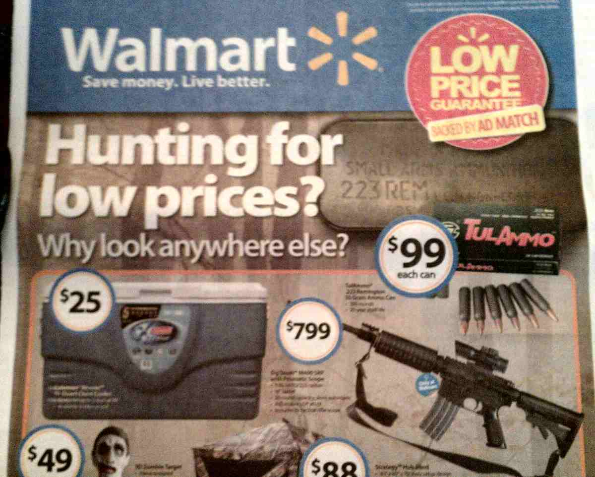 """Walmart gun control ('hunting for low prices'),"" by Flickr user Ted Swedenburg"