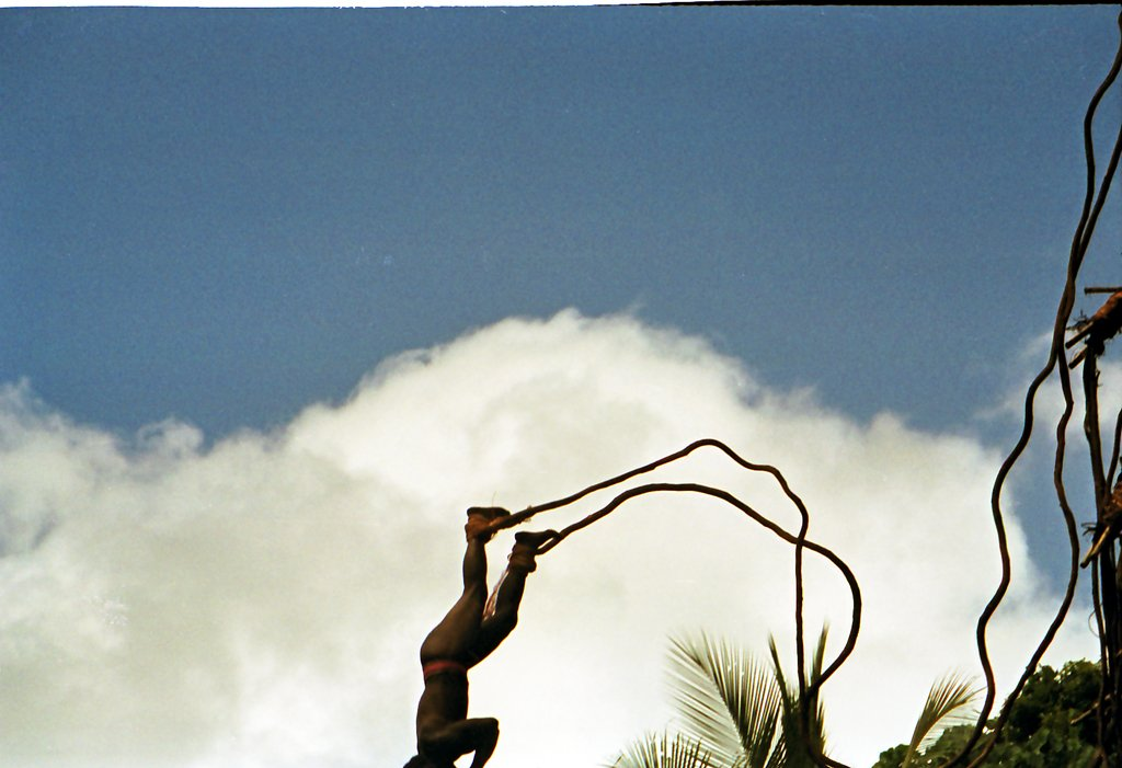 """Land diving (known in the local Sa language as Gol and in Bislama as Nanggol) is a ritual performed by the men of the southern part of Pentecost Island, Vanuatu. ... For boys, land diving is a rite of passage."" (Wikipedia). ""Feet in the Air, Pentecost Island Vanuatu 1992,"" by Flickr user Paul Stein"