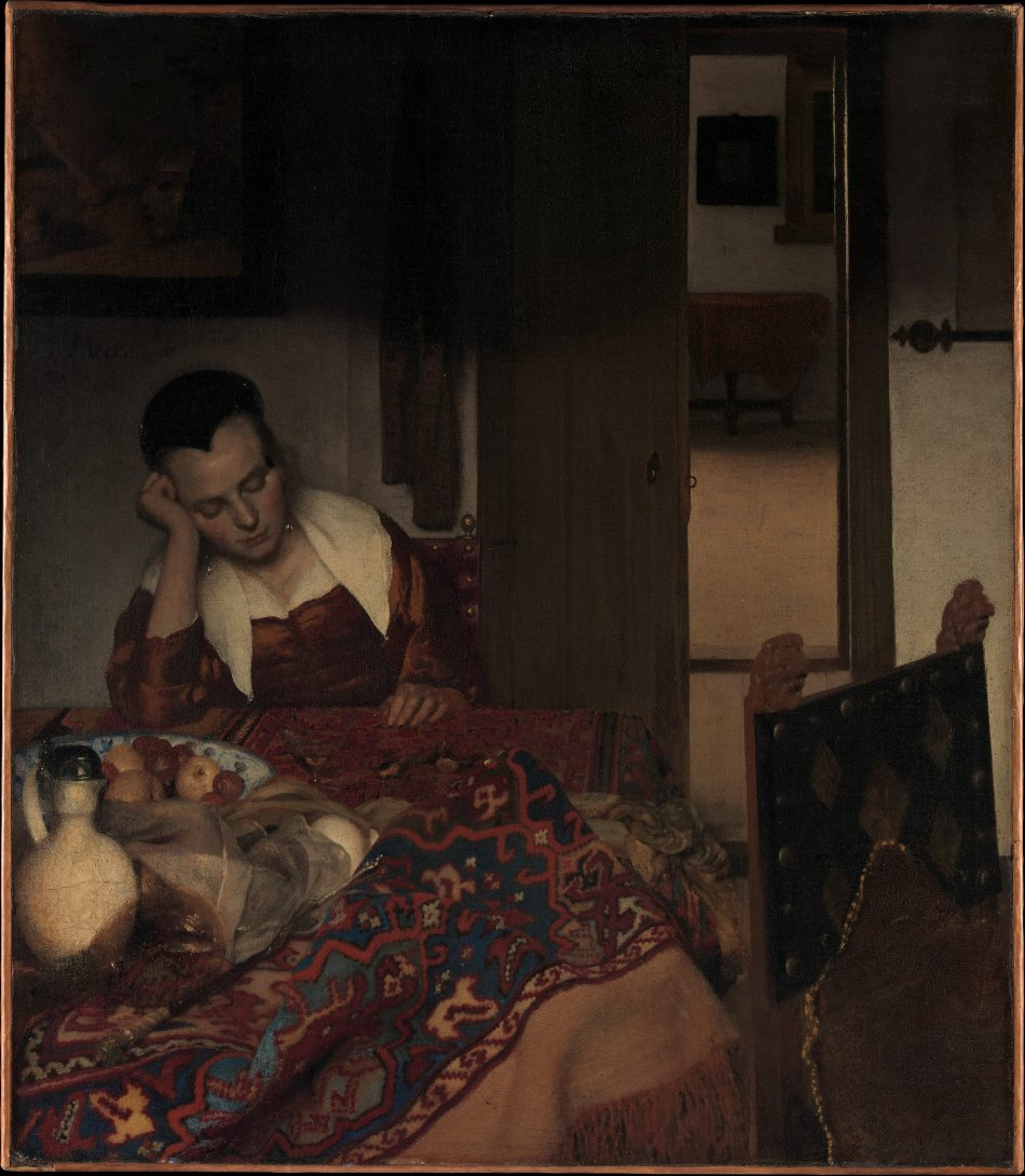 "Johannes Vermeer, ""A Maid Asleep,"" ca. 1657-57, Oil on canvas; 34 1/2 x 30 1/8 in. The Metropolitan Museum of Art, New York, Bequest of Benjamin Altman, 1913 (14.40.611) http://www.metmuseum.org/Collections/search-the-collections/437878"
