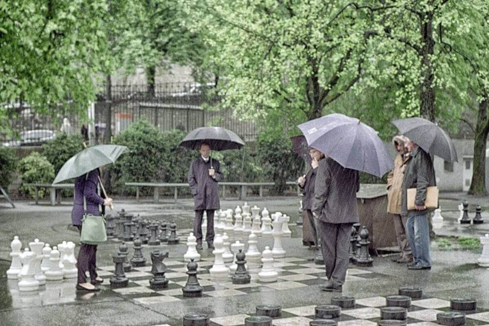 """Chess in the rain,"" by Kelvin Pulker"