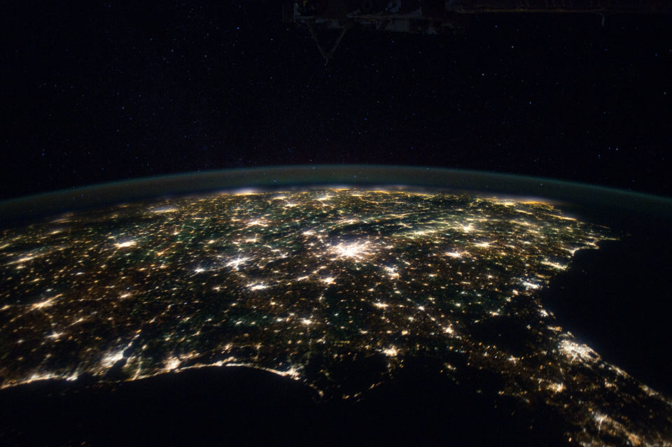 """Southeastern USA at Night,"" (NASA, International Space Station, 01/29/12). NASA's Marshall Space Flight Center. https://www.flickr.com/photos/nasamarshall/"