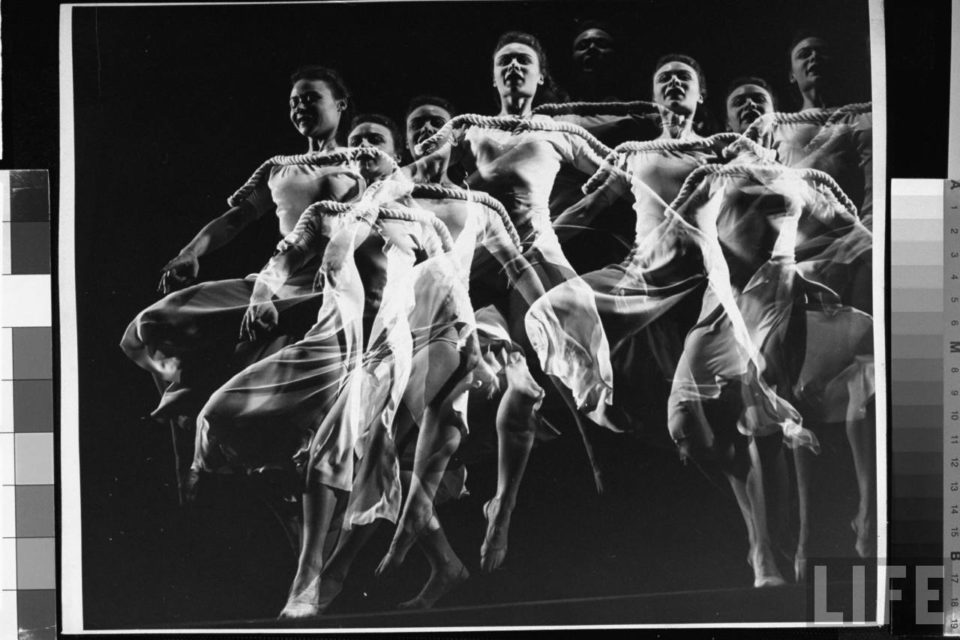 """""""Stroboscopic image of dancer Ethel Butler of the Martha Graham Dance Group performing,"""" by Gjon Mili, courtesy of the LIFE photo archive hosted by Google"""