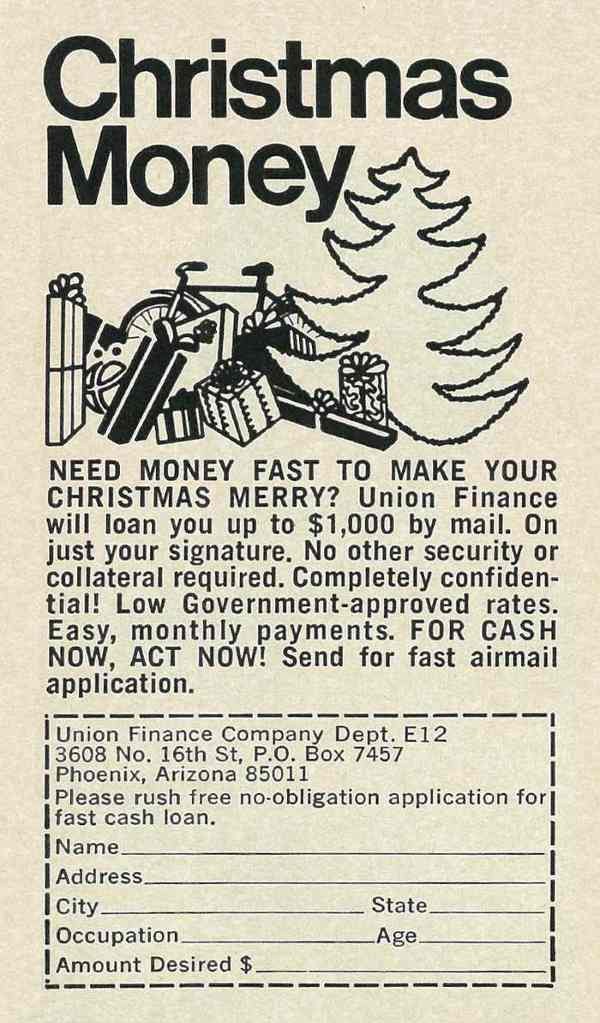 """""""Illustrated 1970 Ad, Christmas Money, Union Finance Co."""" Published in Ebony, December 1970 - Vol 26, No. 2"""