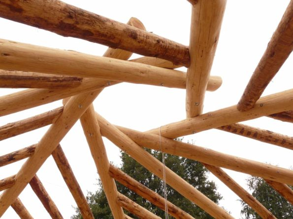 """Title: """"reciprocal roof made from douglas logs on tire foundations"""" 