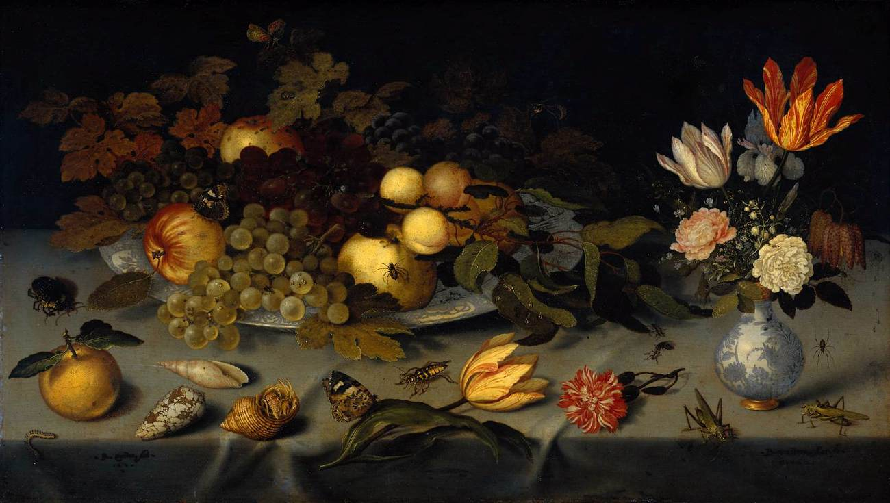 """""""Still Life with Fruit and Flowers,"""" (1620-1621), Balthasar van der Ast (Public Domain)"""