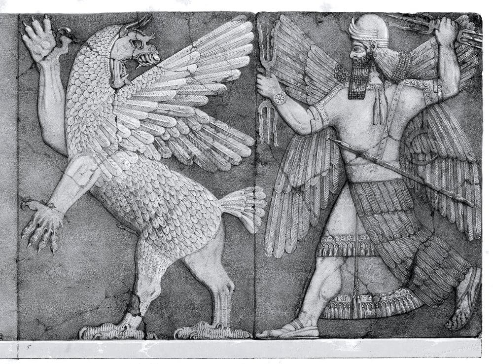 Depiction of Anzu pursued by Ninurta, palace relief, Nineveh