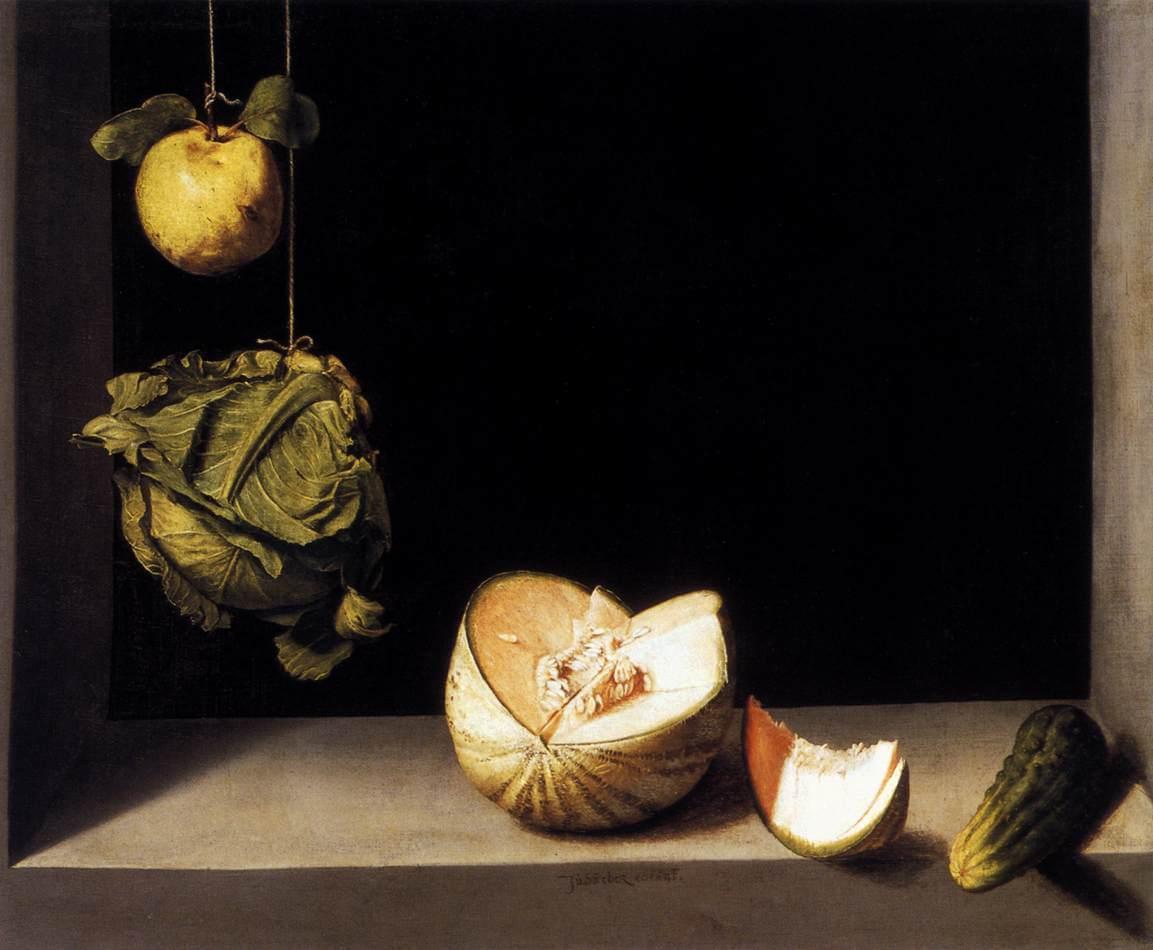 """""""Quince, Cabbage, Melon, and Cucumber,"""" (c. 1600), Juan Sánchez Cotán (Public Domain)"""