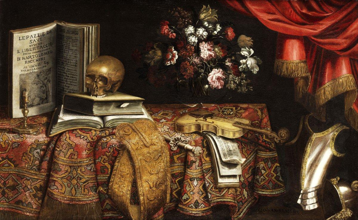 """""""Vanitas – Still-life with Violin, Notebook, Vase, and Skull,"""" (1681), Pierfrancesco Cittadini (Public Domain)"""