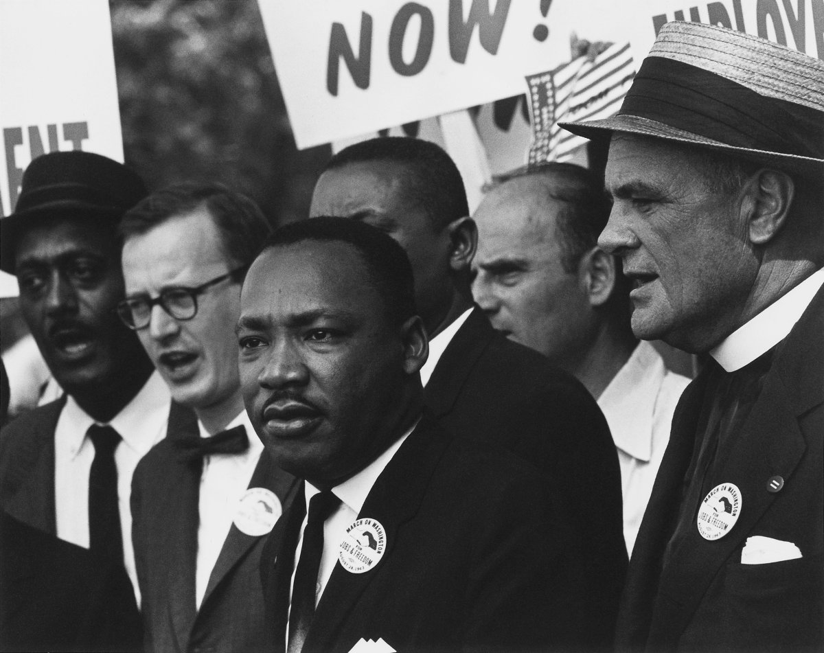 Civil Rights March on Washington, D.C. [Dr. Martin Luther King, Jr. and Mathew Ahmann in a crowd.] | Author: Rowland Scherman; restored by Adam Cuerden | License: CC0