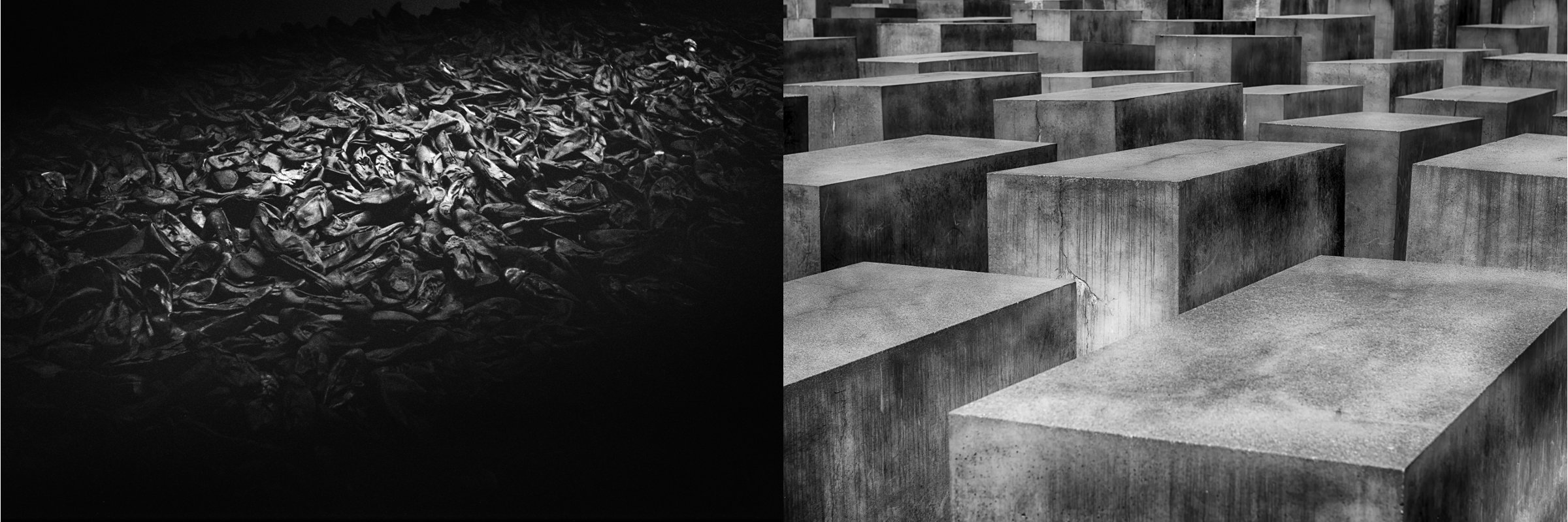 (Left: Title: Shoes taken off of the Jews-Holocaust Museum | Author: rpavich | Source: rpavich | License: CC BY 2.0) (Right: Berlin Holocaust Memorial)
