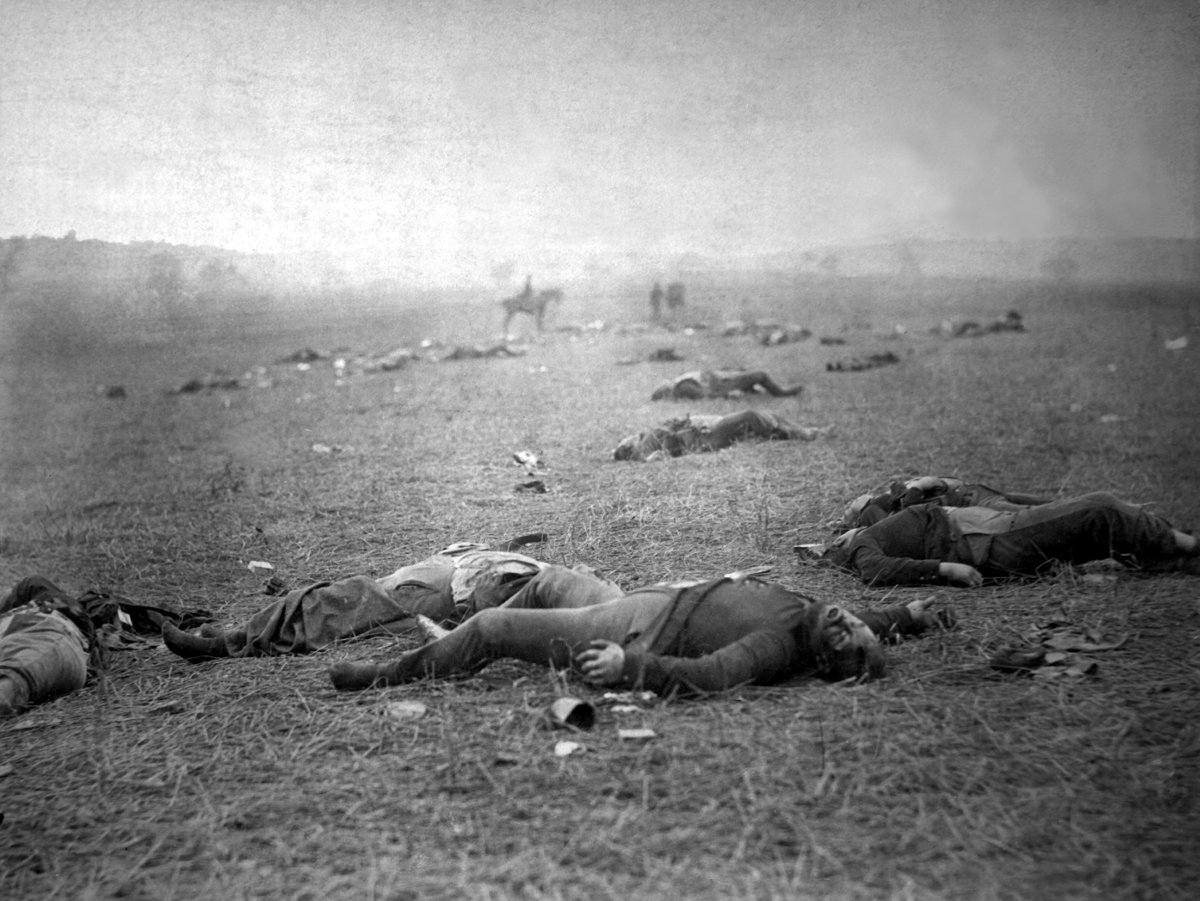 A harvest of death, Gettysburg, PA. Dead Federal soldiers on battlefield. | Author: Timothy H. O'Sullivan