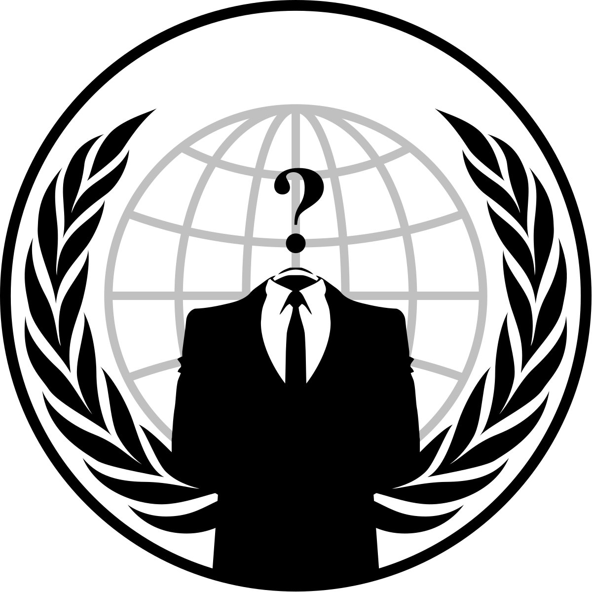 The emblem for the group Anonymous